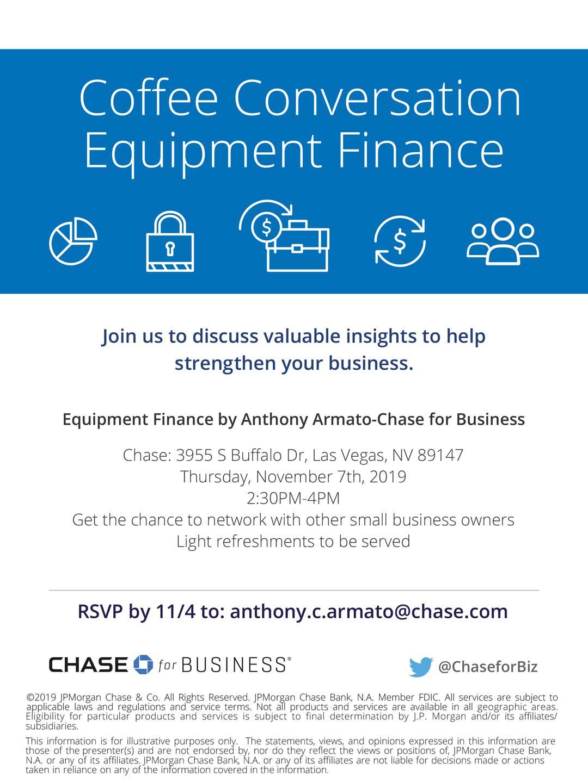 "Coffee Talk ""Equipment Finance"" @ Chase Bank"