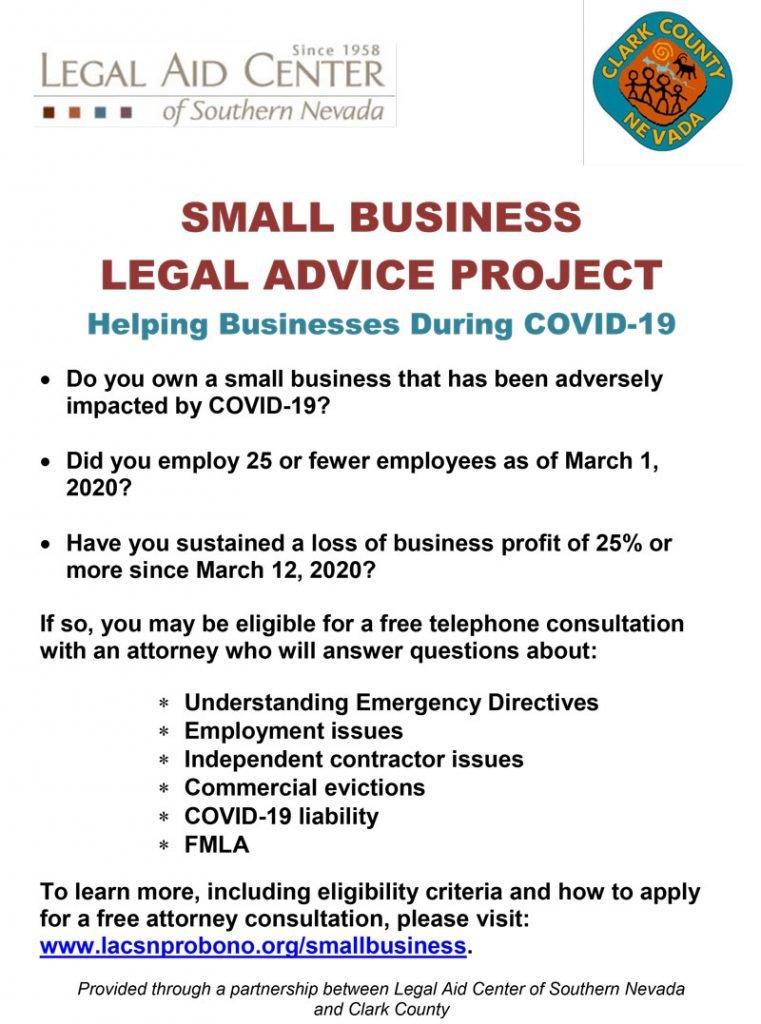 Small Business Legal Advice Program flyer