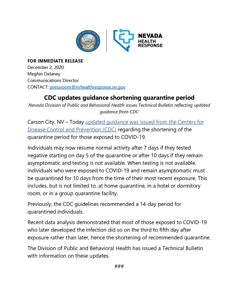 CDC updates guidance shortening quarantine period