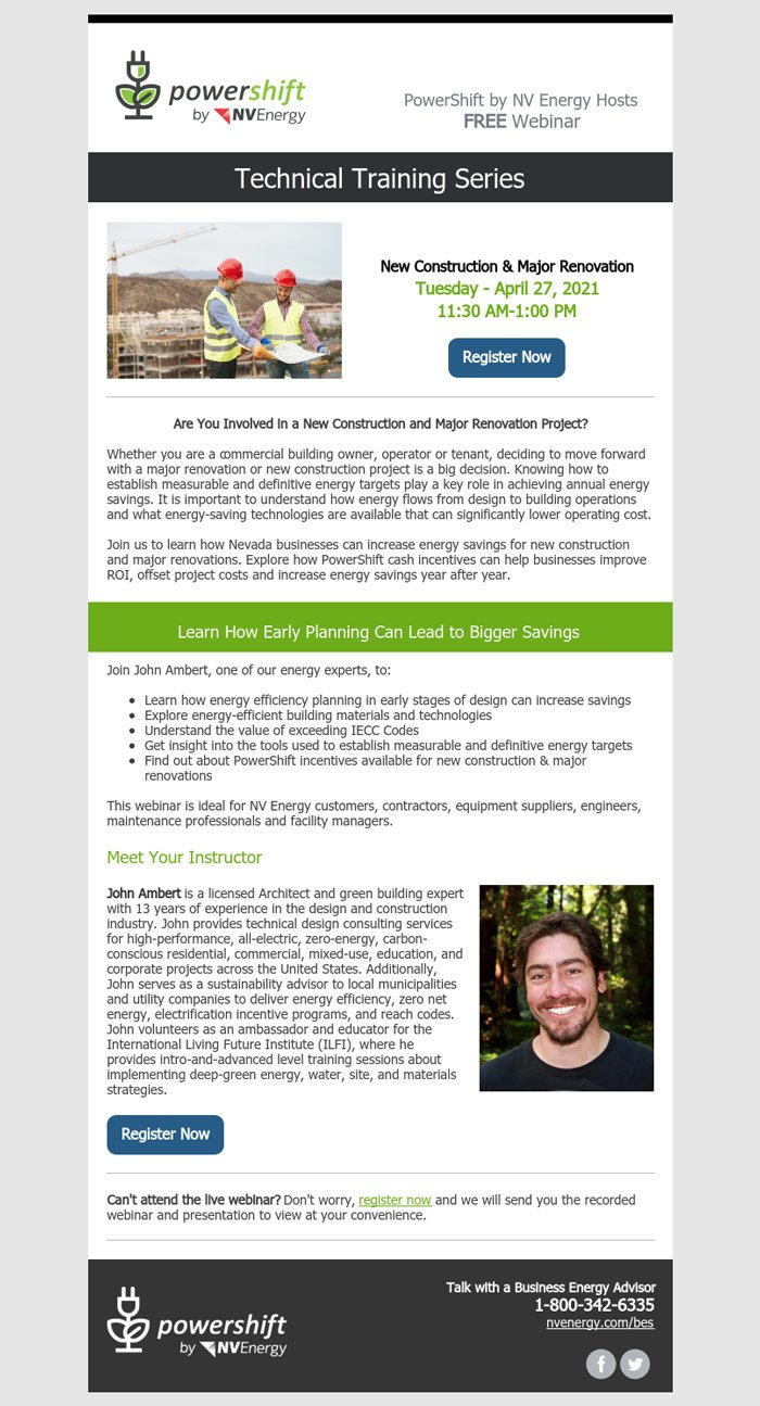 """NV Energy's Business Energy Services April training """"New Construction & Major Renovation"""