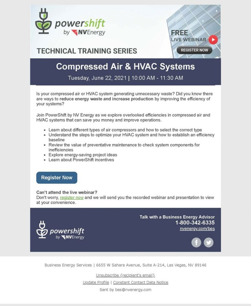 """NV Energy's Business Energy Services June training """"Compressed Air & HVAC Systems"""""""