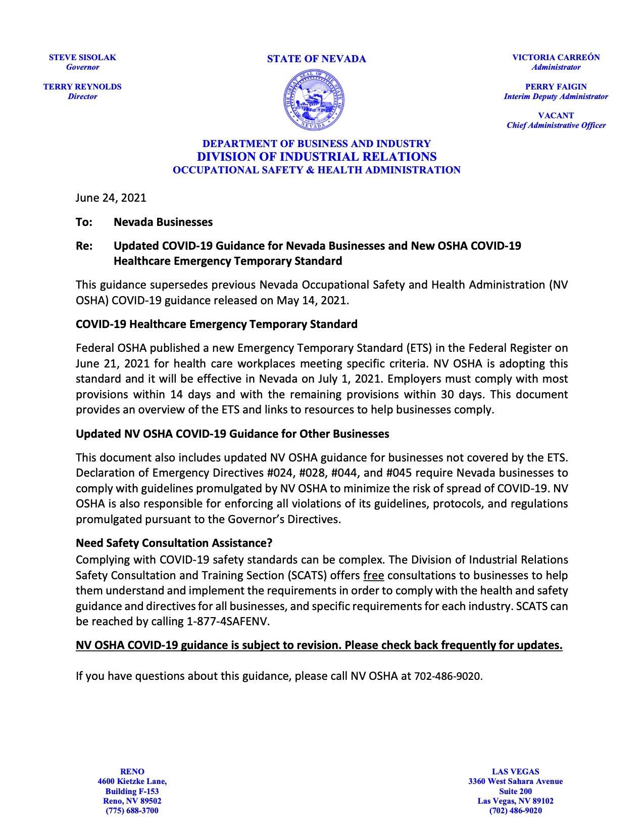 NV OSHA Guidance 6-24-2021