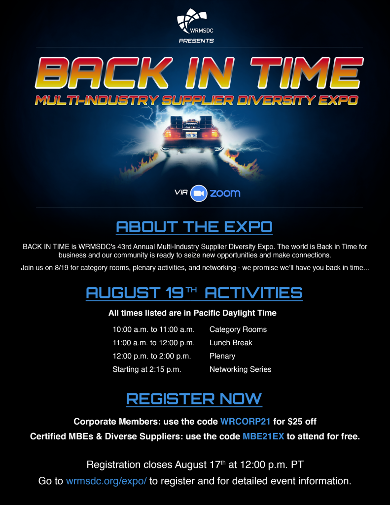 WRMSDC Back in Time - 8-19 Multi-Industry-Supplier Diversity Expo Promo