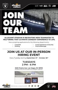 Allegiant Stadium Game Day Hiring Events Flyer